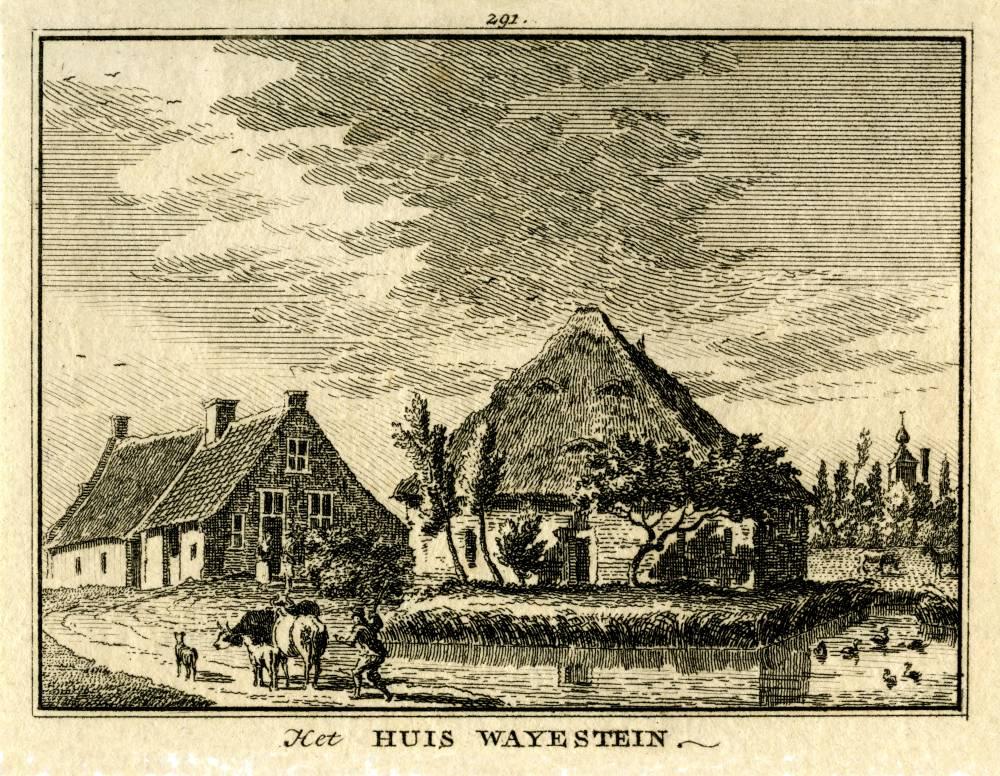 Ridderhofstad Wayenstein in Amerongen. Tekening Jan de Beijer, gravure Hendrik Spilman (Uit: Het Verheerlykt Nederland, Isaac Tirion, 1745/1774)